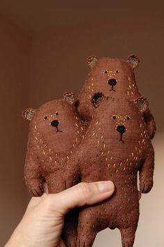 Stuffed animal weird Brown Bear Toy Small Bear от WoodlandTale