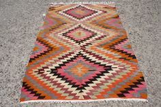 Exclusive Vintage Turkish Kilim Rug ! It is a wedding rug in perfect condition. It is made of organic handspun wool and colored with vegetable dyes.