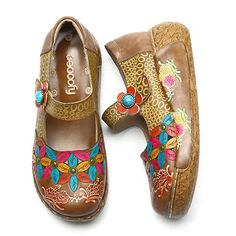SOCOFY New Printing Splicing Flower Pattern Flat Leather Shoes