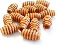Corrugated Wood Bead | 10mm x 17mm Light Brown Beads | Tube Beads | Long Beads | Jewelry Supplies  | Large Beads | Chunky Beads by vickysjewelrysupply. Explore more products on http://vickysjewelrysupply.etsy.com