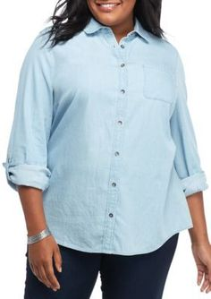 Kim Rogers Light Wash Plus Size Roll Sleeve Button Front Chambray Top