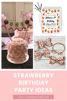 The best ideas for hosting a Strawberry Birthday Party for kids of all ages. Easy party ideas including invitations, cake, cookies, bows, and decorations. 1st Birthday Banners, Kids Birthday Themes, Birthday Invitations Kids, 2nd Birthday Parties, Birthday Fun, Cake Cookies, Holiday Cards, Hair Bows, Strawberry