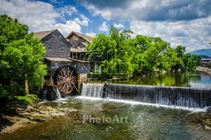Custom Fine Art Print on Premium Media - The venerable Old Mill, just off the Parkway and on the Pigeon River, in Pigeon Forge, Tennessee. Vacation Places, Vacation Trips, Vacation Spots, Places To Travel, Vacation Wishes, Family Vacations, Weekend Trips, Gatlinburg Vacation, Gatlinburg Tennessee