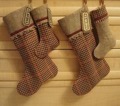 Set of 2 Large and 2 Small Plaid Wool and Burlap by MilaStyle