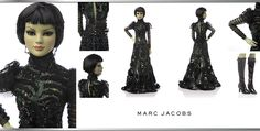 """Marc Jacobs' one and only Wicked Witch dazzles in a beaded, mesh long sleeve gown. Her modern, sleek bob and fluttery lashes add to her mysterious presence. 22"""" Tonner doll / Green lace gown with beaming black sequins and elaborate black net tucked sleeves / Black boots // dolls auctioned off NOW during New York Fashion Week Sept 4-14, 2014 to help raise funds for Habitat for Humanity! // #wizardofoz75 #tnplh"""