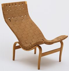 Bruno Mathsson. Eva Side Chair (T101). 1934  anthropromorphic curves  laminated frame  saddle girth upholstery  mail order  swedish modern