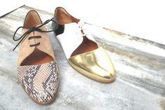 Emma Go derbies Casey blanche/gold/noire #emmago #shoes #ss16