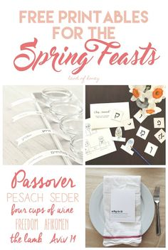 Printable Roundup for the Spring Feasts - all free Feast Of Unleavened Bread, Seder Meal, Feasts Of The Lord, Jewish Crafts, Food Festival, Torah, Sabbath, Honey, Eden Tree
