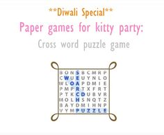 Diwali special Word puzzle Game-Printable Paper game for kitty party. Ladies Kitty Party Games, Kitty Party Themes, Kitty Games, Cat Party, Diwali Party, Diwali Celebration, Diwali Games, Crossword Puzzle Games, Paper Games
