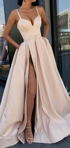 Nude Satin Spaghetti Strap Slit Sexy Prom Dresses,PD00156 #fashionpromdresses #partydresses #eveningdresses #2019prom