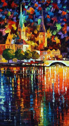 The Light of History - Leonid Afremov This painting shows really good control of color. The reflections in particular drew my attention by looking cool while willed with hot colors. City Painting, Oil Painting Abstract, Oil Paintings, Painting Art, Leonid Afremov Paintings, Abstract City, Pierre Auguste Renoir, Wow Art, City Art