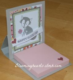 CTMH post it note holder - starts as a card, and folds to display on your desk!  Inspired by Vicki Wizniuk