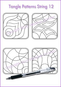 Strings for drawing zentangles_12. Zentangle от ZentangleHouse