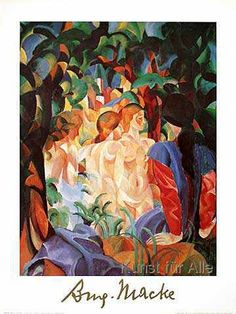 August Macke - Women taking a bath with a town on the back