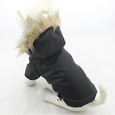 Dog Coat / Hoodie Red / Black / Green / Blue / Purple Dog Clothes Winter Solid Waterproof - EUR € 13.32
