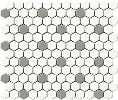 Vintage x Porcelain Mosaic Tile in Gray/White Hexagon Hexagon Mosaic Tile, Best Floor Tiles, Black White, Small Bathroom, White Bathroom, Bathroom Ideas, Bathroom Designs, Modern Bathroom, Master Bathroom
