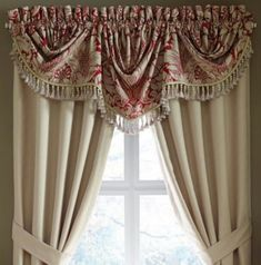 The red and linen-colored floral damask pattern makes the Croscill Avery Imperial Valance a dramatic way to top your bedroom window dressing. Fancy Curtains, Hanging Curtains, Drapes Curtains, Curtain Valances, Cornices, Curtains Living, Window Treatment Store, Window Coverings, Window Treatments