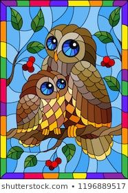 Similar Images, Stock Photos & Vectors of Illustration in stained glass style with fairy owl and owlet on a tree branch with leaves and berries against the sky in bright frame - 1196889517 Stained Glass Paint, Stained Glass Birds, Stained Glass Designs, Stained Glass Projects, Stained Glass Patterns, Owl Mosaic, Mosaic Art, Mosaic Glass, Glass Art