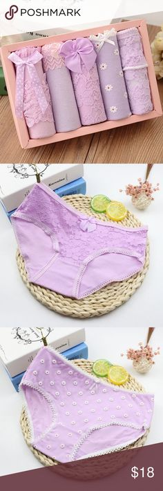 5 handmade purple cotton/lace panties bundle new New with/without tags. Intimates & Sleepwear Panties
