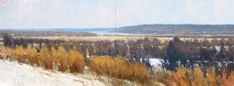 """Frank Hobbs: """"The Ohio River, Athens County, Ohio - Winter,"""" oil on canvas, 36 x 96 in.  Private Collection"""