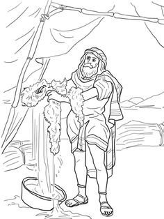 Click to see printable version of Gideon and the Fleece coloring page
