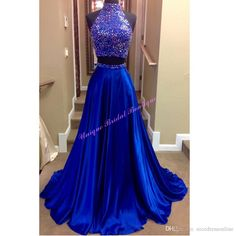 2016 Beaded Neck Prom Dresses with Sexy Keyhole Back and Rhinestones Real Pictures High Neck Beaded Royal Blue Satin Two Pieces Prom Gowns