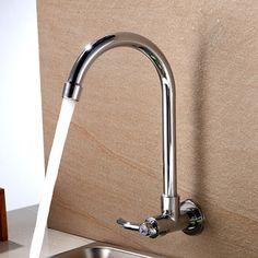 Wall Mounted Flexible Rotate Mixer tap Faucet Bathroom Basin Kitchen ...