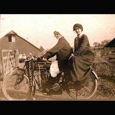 """Two Women on Indian Motorcycle  New Photo Added to """"Aged Photos of Antique Motorcycles"""" Gallery  See other 10 pictures at http://blog.lightningcustoms.com/antique-motorcycle-pictures-aged-photo-set/  Ride Safe,  Steve Lightning Customs -Biker Rallies - http://www.lightningcustoms.com  -Motorcycle Photos - http://blog.lightningcustoms.com/motorcycle-pictures  #AntiqueMotorcycles #BikerRallies #MotorcyclePhotos #Motorcycles"""