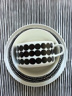 marimekko in black and white noir et blanc ceramics Valentines Day Party, Black White Stripes, Textures Patterns, Mixing Patterns, Scandinavian Design, Cup And Saucer, Pottery, My Favorite Things, Decoration