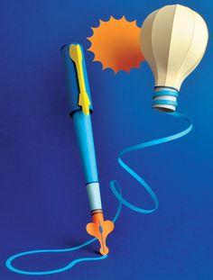 Paper fountain pen and lightbulb.