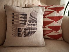 Danish Bird Cross Stitch Pillow Cover: Grey-Purple, Grey, Cream and Oatmeal