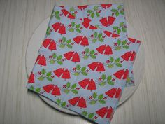 Christmas Cloth Dinner Napkins Holly Berries Bells Lunch 16 Inch Set of 4 Christmas Cloth Napkins, Cloth Dinner Napkins, Christmas In July, Christmas Bells, Columbus Day Sale, Thanksgiving Sale, Light Blue Background, Holly Berries, Beautiful Christmas