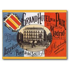Vintage Travel Poster, Hotel Paix, Madrid, Spain Post Card