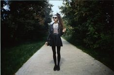 Topshop Leather Jacket, Thrift Store Shirt, Thrift Store Skirt, Underground Creepers