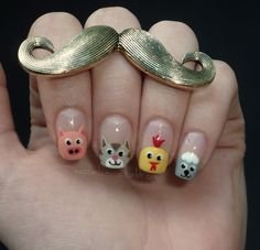 Farm Animals Nail Art by moustache manis