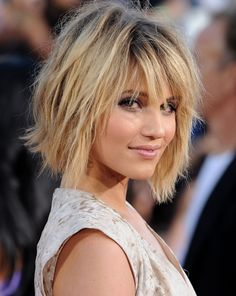 Time to grow my hair out?? Chin length bob - mousse, blowdry, texturiser spray and scrunch.  tease through the ends if need more texture  I love this! If I decide to chop off my hair I am so doing this!