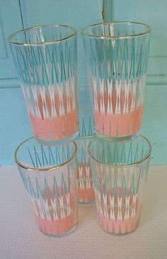 Vintage Aqua and Pink Glasses