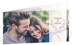 Faire part mariage aux couleurs de l'automne avec ses petits cerfs pour convier vos proches à votre heureux événement, ref N43143