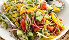 All your favorite vegetables combined for a deliciously flavored Summer Vegetable Salad. Mixed Vegetables, Veggies, Vegetable Salad Recipes, Best Food Ever, Healthy Salads, Summer Salads, Kitchen Recipes, Clean Recipes, Caprese Salad