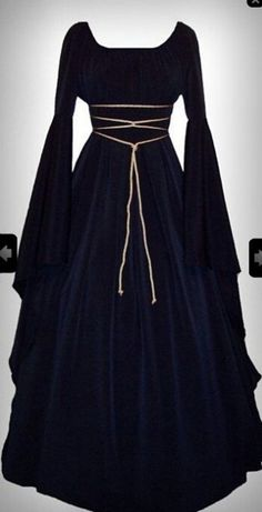 May 2020 - Holiday Sale - Medieval/Renaissance Black Satin Trumpet Sleeve Costume Gown, Custom made to order. Renaissance Costume, Renaissance Clothing, Medieval Fashion, Diy Medieval Costume, Renaissance Wedding, Renaissance Fair, Medieval Dress, Maxi Dress With Sleeves, Dress Up