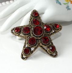 Vintage HAR Red Rhinestone Star Brooch by delightfuljewels on Etsy, $38.00