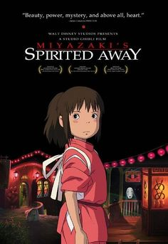 Top Ten Japanese Animation Movies of All Time: Spirited Away, written and directed by the great Hayao Miyazaki, was the first anime to win an Academy Award. It was released by Studio Ghibli, Inc., which was co-founded by Miyazaki and Isao Takahata. Bon Film, Film D'animation, Great Films, Good Movies, Amazing Movies, Interesting Movies, Movies Free, It's Amazing, Spirited Away Poster