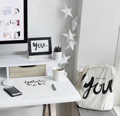 Work place. Interior. White interior. Scandinavian home. Wall gallery. Print design. Graphic design. Lettering. Typography. Home inspiration. Home styling. Tote bag