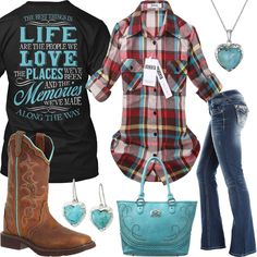 Best Things In Life Roll-Up Sleeve Plaid Flannel Shirt Outfit - Real Country Ladies Country Girl Dresses, Country Style Outfits, Southern Outfits, Country Wear, Country Chic, Country Life, Camo Girl Outfits, Cute Cowgirl Outfits, Teenager Outfits