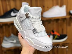 aa746980e57cac Air Jordan 4 Pure Money Aj4 White Siliver Pure White All White 308497-100  Men Shoes Discount