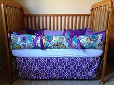 Aqua & PurpleBaby Girl Crib Bedding for by WildflowerQuilting, $280.00