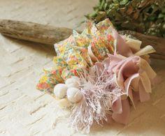 花柄とパープルが乙女チックなシュシュ【メモル】