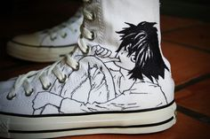 death note, L sneakers <3 omfg i have to get one of these i neeeeeeeeeed it!!!!!!!!!!!!!!!!1