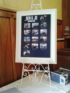 Jo and Bens fun seating plan idea. Tables named using couples travel photos.
