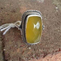 10.96 CTS YELLOW CHALCEDONY RING HANDCRAFTED 10.96 CTS NATURAL YELLOW CHALCEDONY RING IN GUARANTEE SOLID STAMPED 925 STERLING SILVER Jewelry Rings